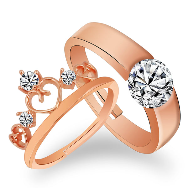 Asmitta Rose Gold Plated Solitaire Rings With Crystal Stones For Couples
