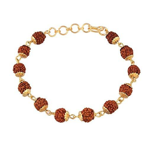I Jewels Gold Plated Rudraksha Bracelet Rakhi for Men ( R614 )