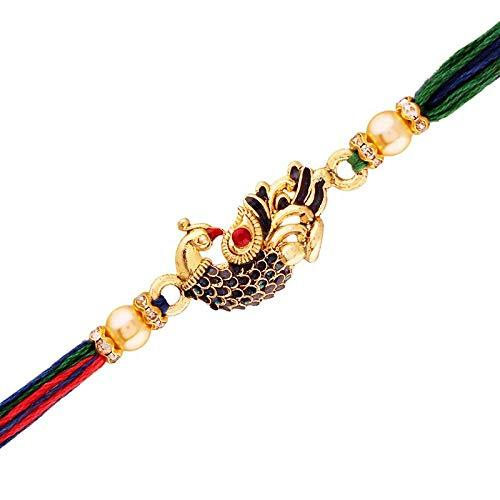 I Jewels Gold Plated Designer CZ Pearl Multi-Colour Peacock Rakhi for Men-Boys ( R702 )