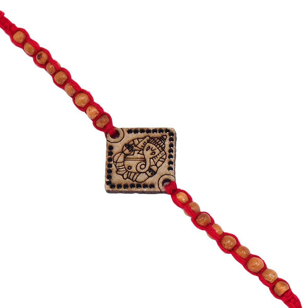 I Jewels Gold Plated Designer Wooden Beads Lord Ganesha Rakhi for Men-Boys ( R705 )