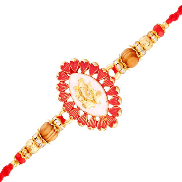 I Jewels Gold Plated Designer Wooden Beads Pearl Spiritual Lord Ganesha Rakhi for Boys-Kids ( R707 )