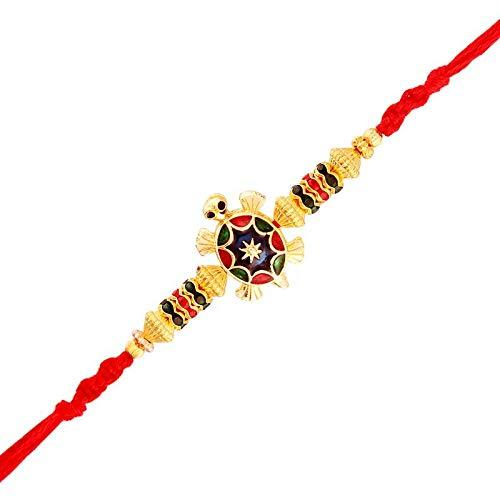 I Jewels Gold Plated Designer Multi-Color Turtle Rakhi for Men-Boys