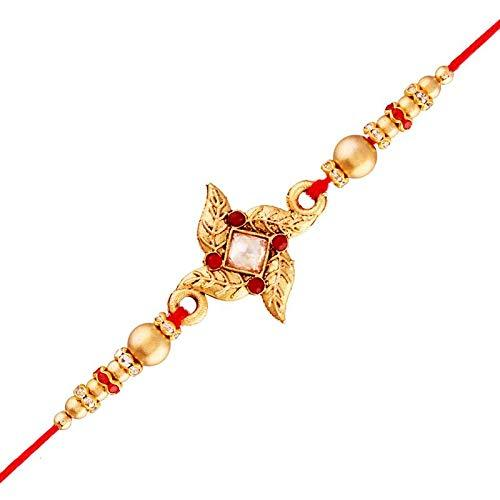 I Jewels Gold Plated Designer Pearl Golden Flower Rakhi for Men-Boys