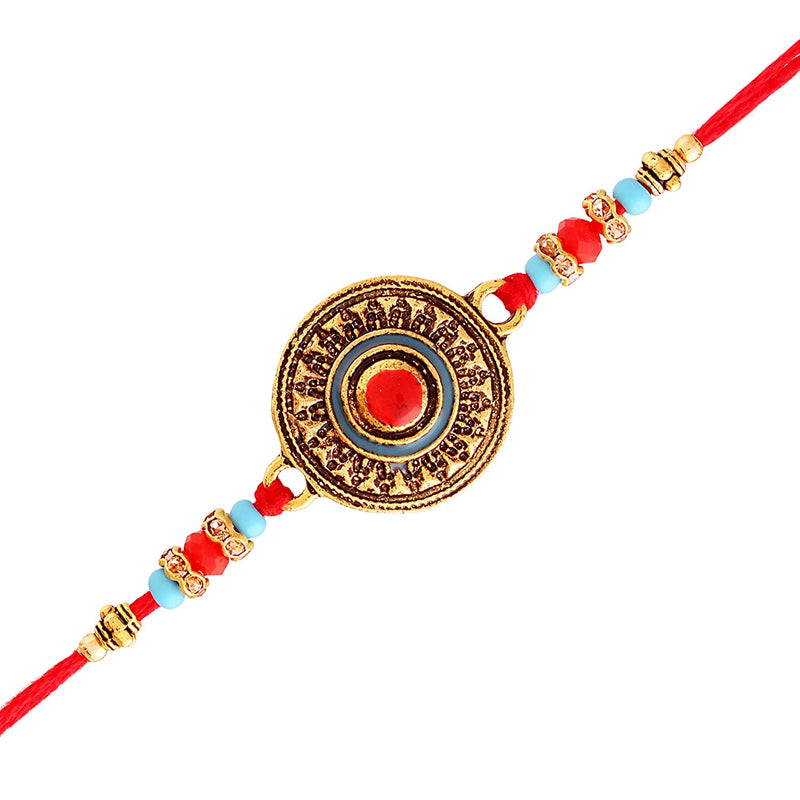 I Jewels Gold Plated Designer Stone Studded Pearl Rakhi Set for Bhaiya Bhabhi