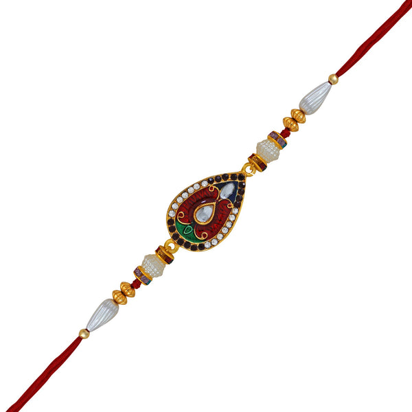 Mahi Gold Plated Teardrop Soltaire Gleaming Crystal Rakhi with Meena Work and Colourful Crystal Stones for Beloved Brothers