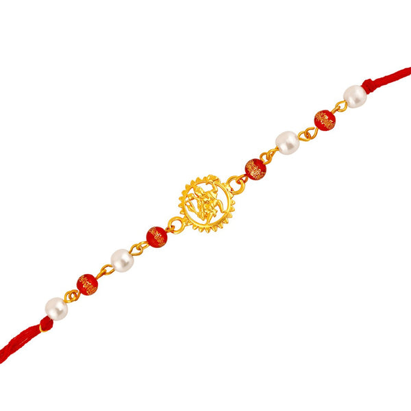 Mahi Gold Plated Spiritual Hanuman Rakhi with Colourful Beads for Beloved Brothers