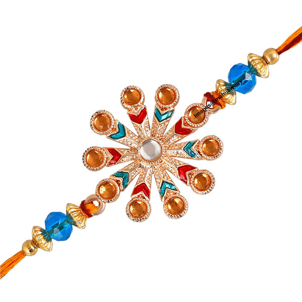 Mahi Rose Gold Plated Exclusive Floral Designer Rakhi with crystal stones for lovely brother
