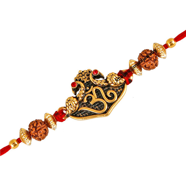 Mahi Gold Plated Purely Divine Om Rudraksh Rakhi for beloved brothers RA1100597G