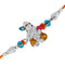 Mahi Rhodium Plated Lord Krishna Meena work Rakhi for Adorable brothers