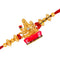 Mahi Gold Plated Goddess Laxmi Mata Rakhi with meena work for adorable brothers