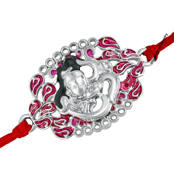 Mahi Rhodium Plated Auspicious Lord Shiva Om Rakhi Bracelet with meena work for beloved brother/Bhaiya