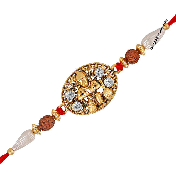 Mahi Gold Plated Divine Lord Hanuman Rudraksh Rakhi Bracelet with Crystal Stones for Beloved Brother