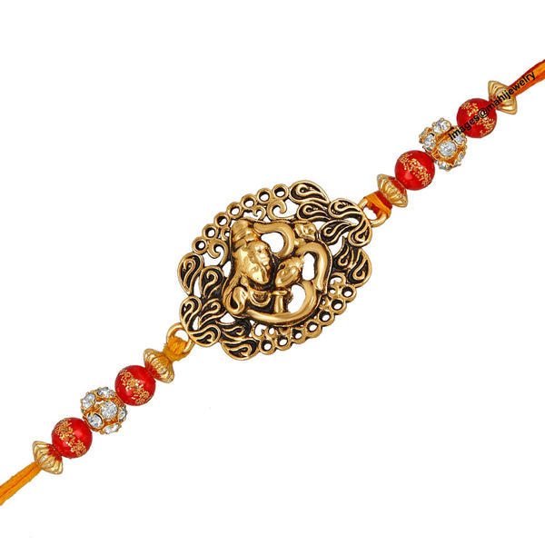 Mahi Oxidised Gold Plated Lord Shiva Om Rakhi Bracelet for adorable brother/Bhaiya