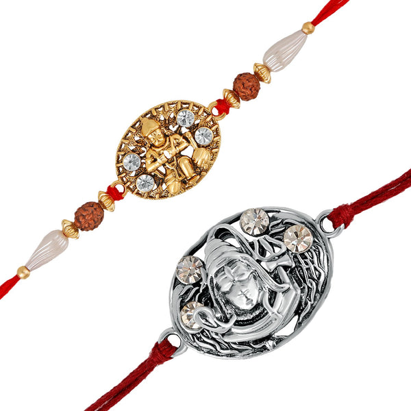 Mahi Combo of Lord Hanuman and Shiva Rakhis with Crystals and Rudraksha for Adorable Brothers RCO1105116M