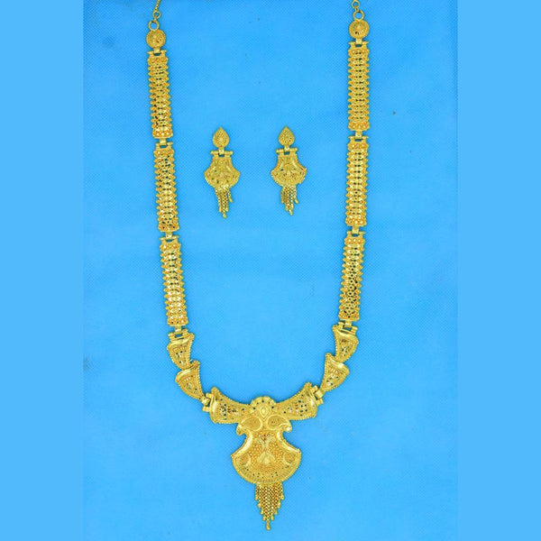 Mahavir Forming Look Gold Plated Long Necklace Set - RS SET 128