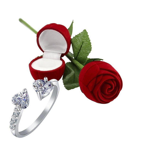 I Jewels Valentine's Special Silver Plated CZ American Diamond Adjustable Ring with Red Rose Gift Box For Women/Girls (S001-FL161CO)