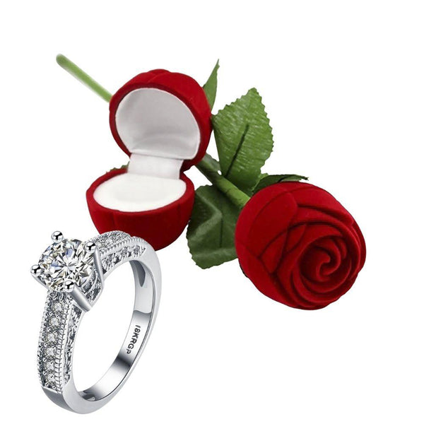 I Jewels Valentine's Special Silver Plated CZ American Diamond Adjustable Ring with Red Rose Gift Box For Women/Girls (S001-FL162CO)