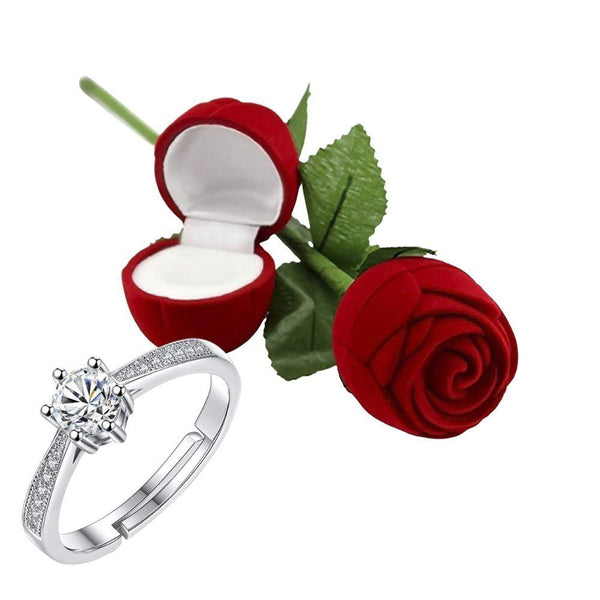 I Jewels Valentine's Special Silver Plated CZ American Diamond Adjustable Ring with Red Rose Gift Box For Women/Girls (S001-FL163CO)