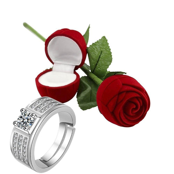 I Jewels Valentine's Special Silver Plated CZ American Diamond Adjustable Ring with Red Rose Gift Box For Men (S001-FL164CO)