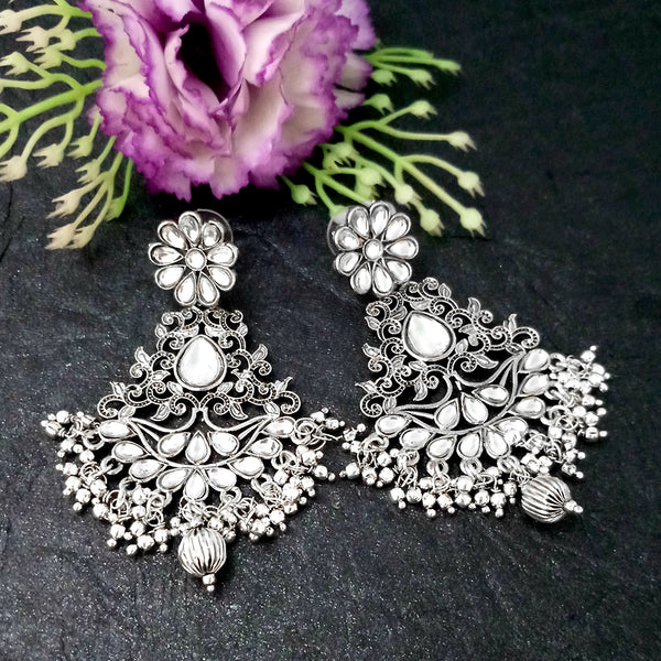 Shreeji Creation Floral Design Oxidised Plated Dangler Earrings