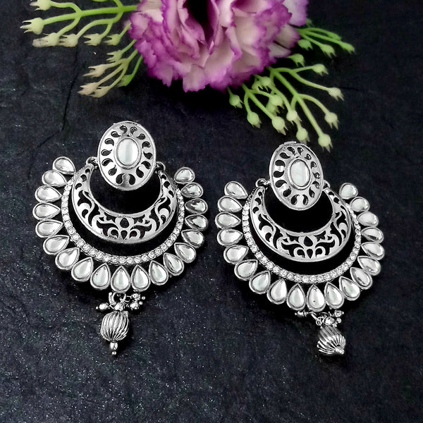 Shreeji Creation White Austrain Stone Oxidised Plated Chandbali Earrings