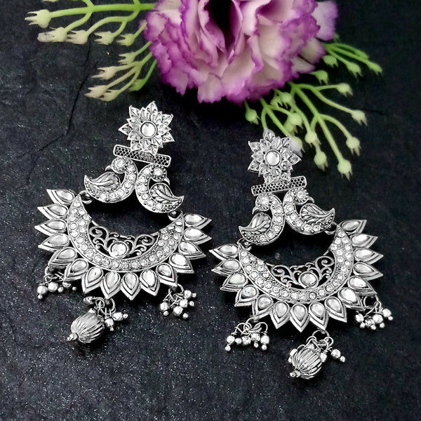 Shreeji Creation Peacock Design Oxidised Plated Chandbali Earrings