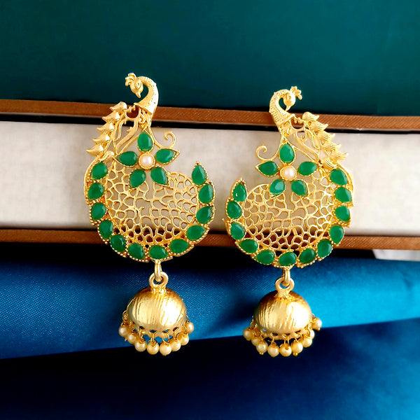 Shreeji Creation Green Pota Stones Peacock Design Matte Finish Jhumki Earrings