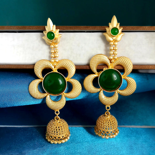 Kriaa Green Pota Stones Floral Matte Finish Jhumki Earrings