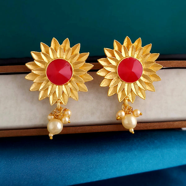 Shreeji Creation Red Pota Stones Floral Matte Finish Stud Earrings