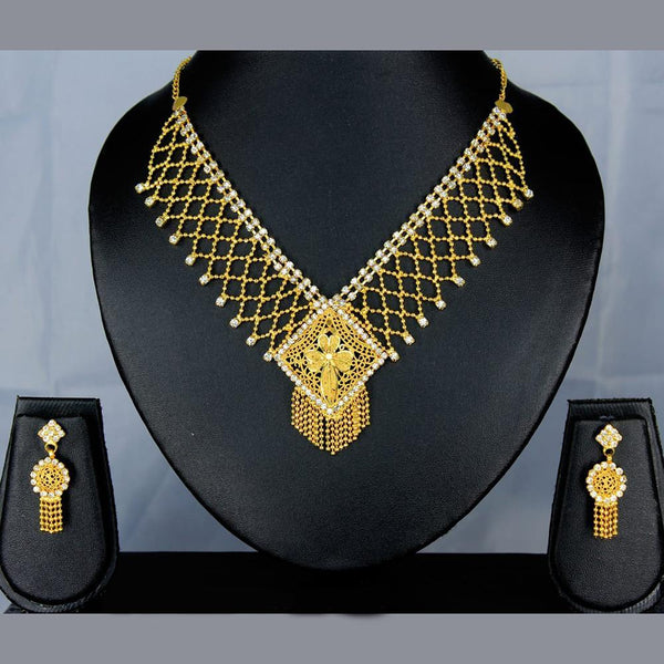 Mahavir Forming Look Gold Plated Stone Necklace Set - SS 23 SET DESIGN 2