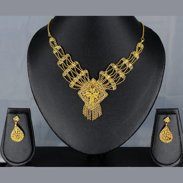 Mahavir Forming Look Gold Plated Stone Necklace Set - SS 36 SET MIC DESIGN 2