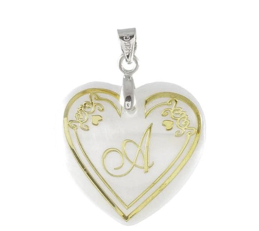 Regina Alphabet Heart Shaped Shell Pendant