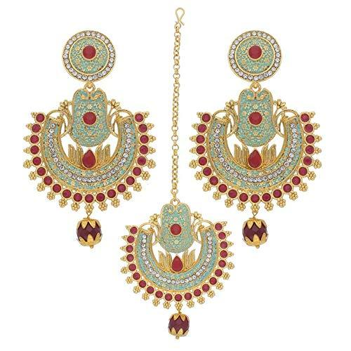 I Jewels Traditional Gold Plated Meenakari & Stone Studded Maang Tikka With Earring Set (TE2015)