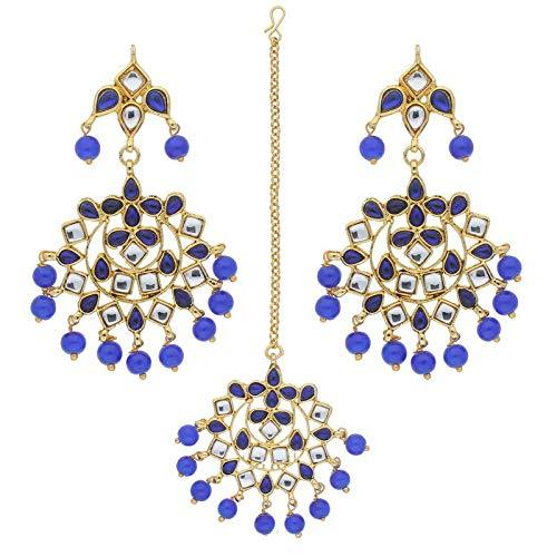 I Jewels Traditional Gold Plated Pearl & Kundan Maang Tikka With Earring Set (TE2023Bl)