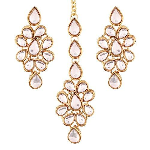 I Jewels Gold Plated Kundan Earring Set with Maang Tikka for Women (TE2423W)