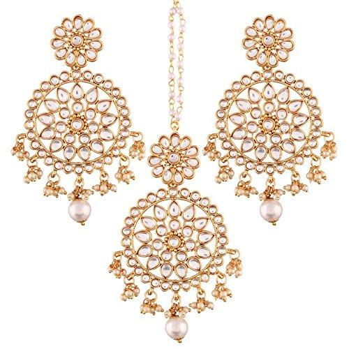 I Jewels Gold Plated Traditional Kundan & Pearl Earring Set with Maang Tikka for Women (TE2462W)