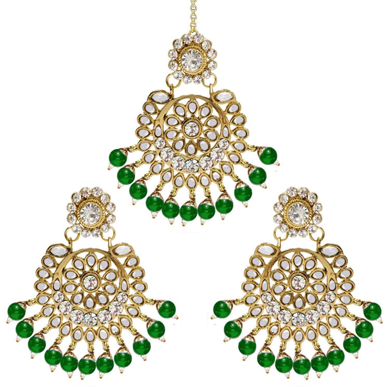 I Jewels Gold Plated Traditional Kundan Pearl Earrings & Maang Tikka For Women (TE2501G)