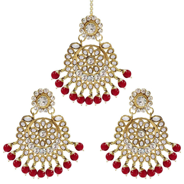 I Jewels Gold Plated Traditional Kundan Pearl Earrings & Maang Tikka For Women (TE2501R)