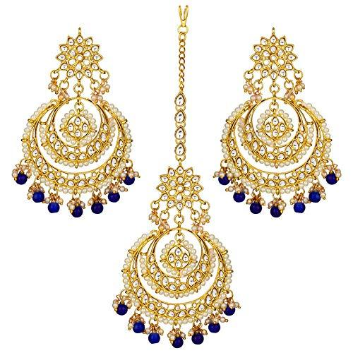 I Jewels Traditional Gold Plated Chandbali Kundan & Pearl Earring Set with Maang Tikka for Women (TE7077BL)