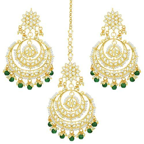 I Jewels Traditional Gold Plated Chandbali Kundan & Pearl Earring Set with Maang Tikka for Women (TE7077G)
