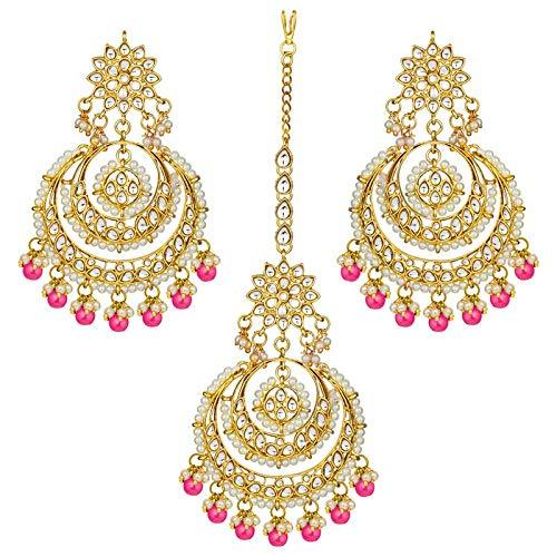 I Jewels Traditional Gold Plated Chandbali Kundan & Pearl Earring Set with Maang Tikka for Women (TE7077Q)