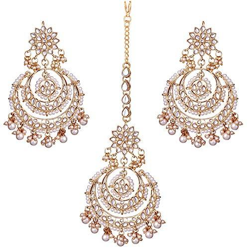 I Jewels Traditional Gold Plated Chandbali Kundan & Pearl Earring Set with Maang Tikka for Women(TE7077W)