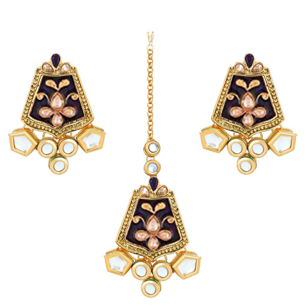 I Jewels Gold Plated Traditional Kundan Meenakari Earrings with Maang Tikka (TEML134Bl)