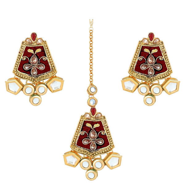 I Jewels Gold Plated Traditional Kundan Meenakari Earrings with Maang Tikka (TEML134R)