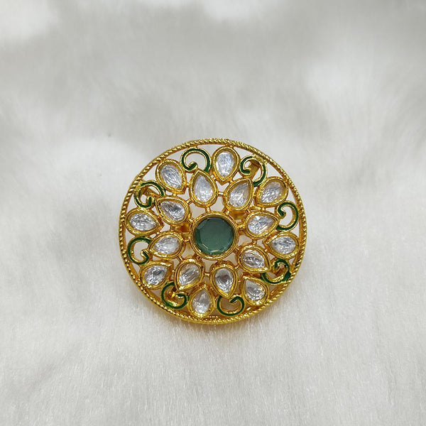 Tarangavi green Kundan gold plaetd ring