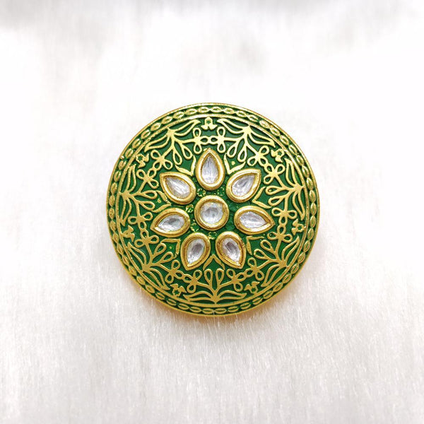 Tarangavi green matte Kundan gold plated floral ring