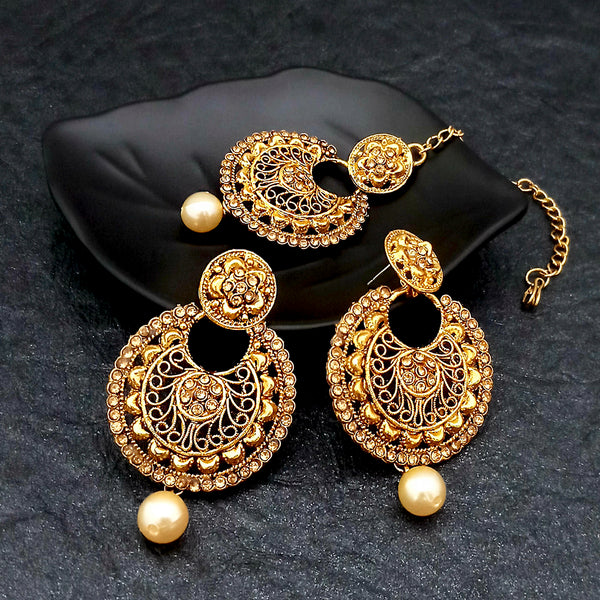 Shreeji Creation Gold Plated Floral Design Earrings With Maang Tikka