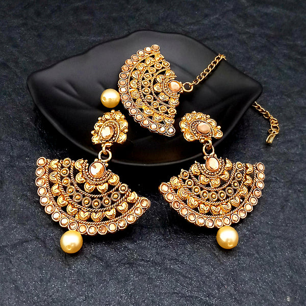 Shreeji Creation Gold Plated Stylish Earrings With Maang Tikka