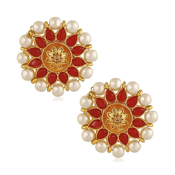 Mahi Red Meenakari Work Traditional Floral Earring with Kundan for Women (VECJ100218Red)