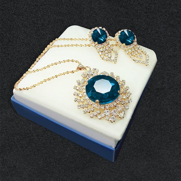 Kriaa Blue Austrian Stone Gold Plated Pendant Set